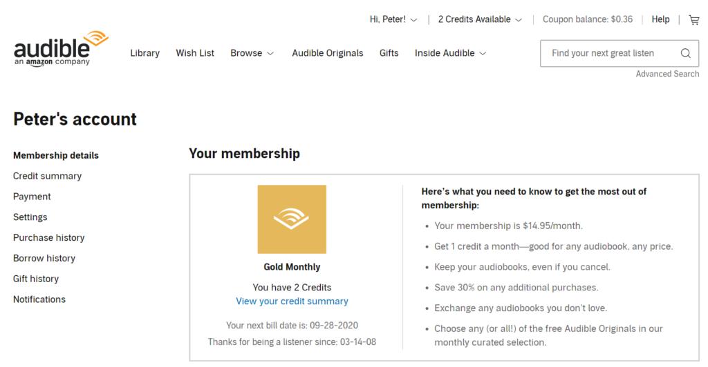 audible trial membership