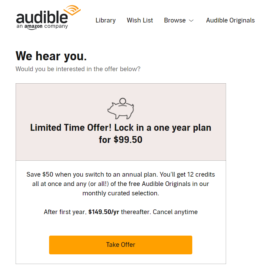 audible cancel offer