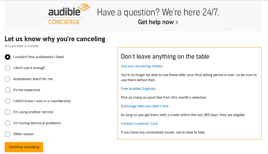audible cancel why