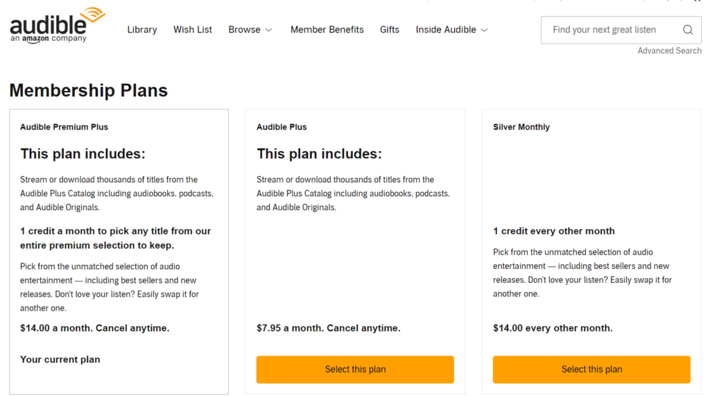 audible member plans