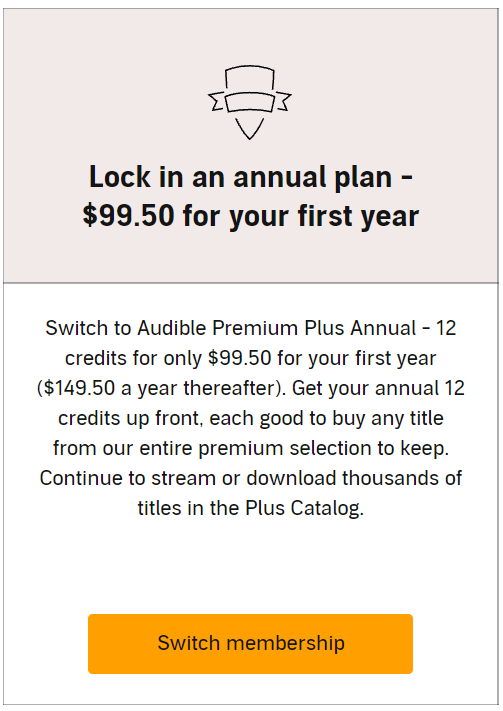 udible annual plan discount