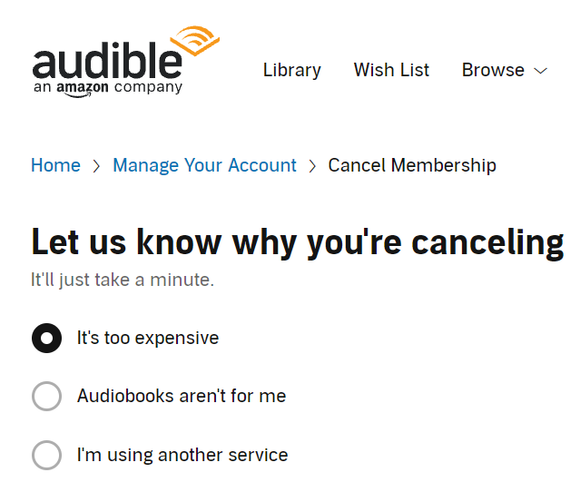 audible cancel too expensive